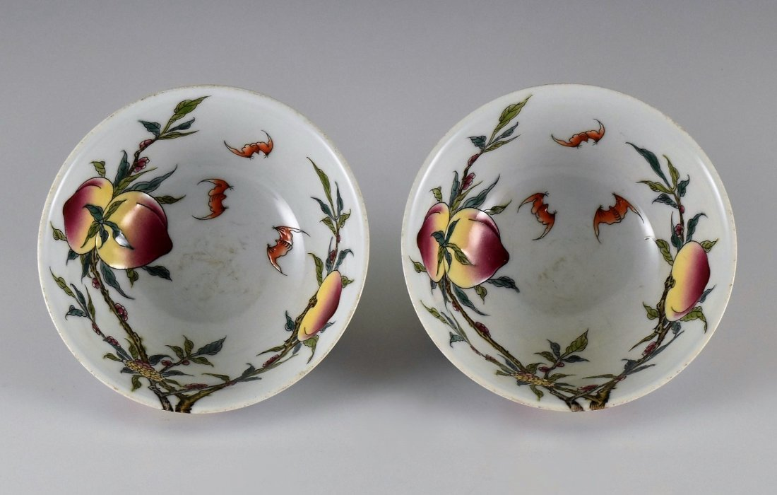 PAIR OF FAMILLE ROSE PEACH BOWLS,  YONGZHENG MARK - 2