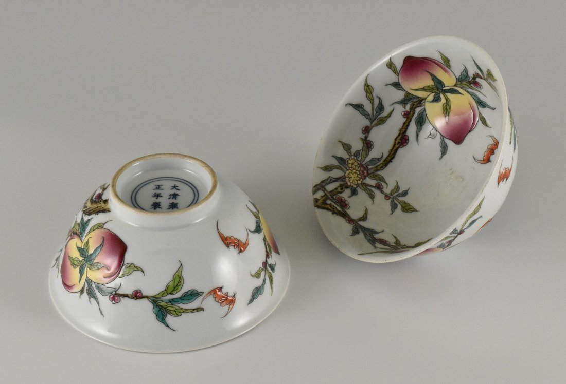 PAIR OF FAMILLE ROSE PEACH BOWLS,  YONGZHENG MARK - 3