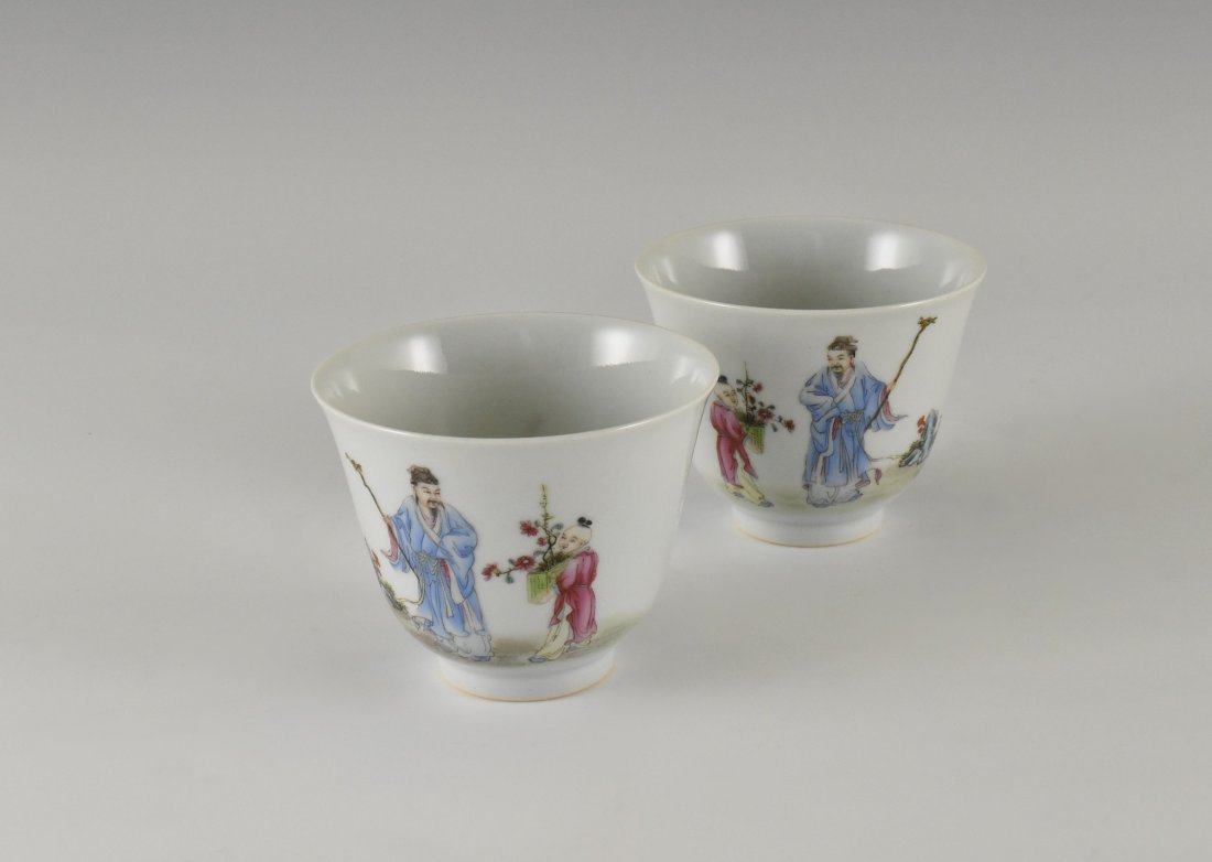 PAIR OF FAMILLE ROSE PORCELAIN WINE CUPS, XIANFENG MARK - 2