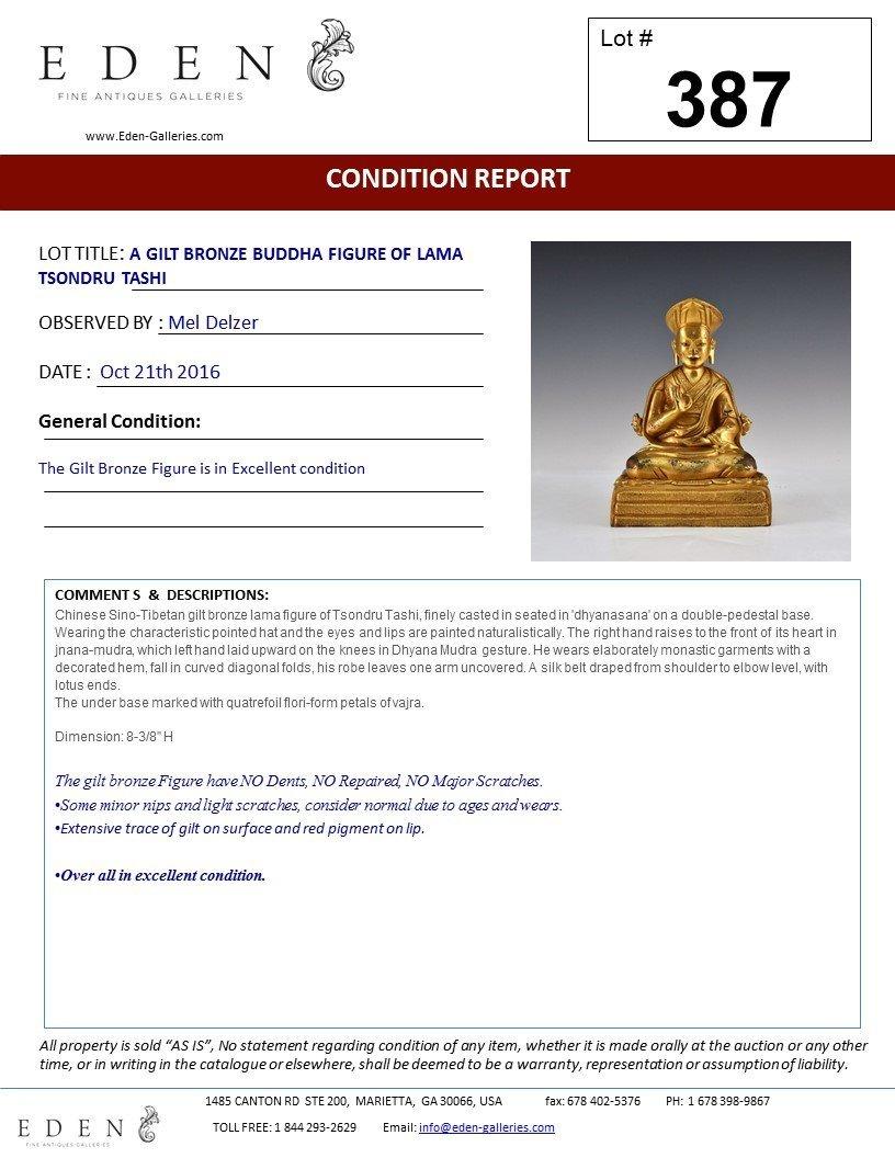 A GILT BRONZE BUDDHA FIGURE OF LAMA TSONDRU TASHI - 10