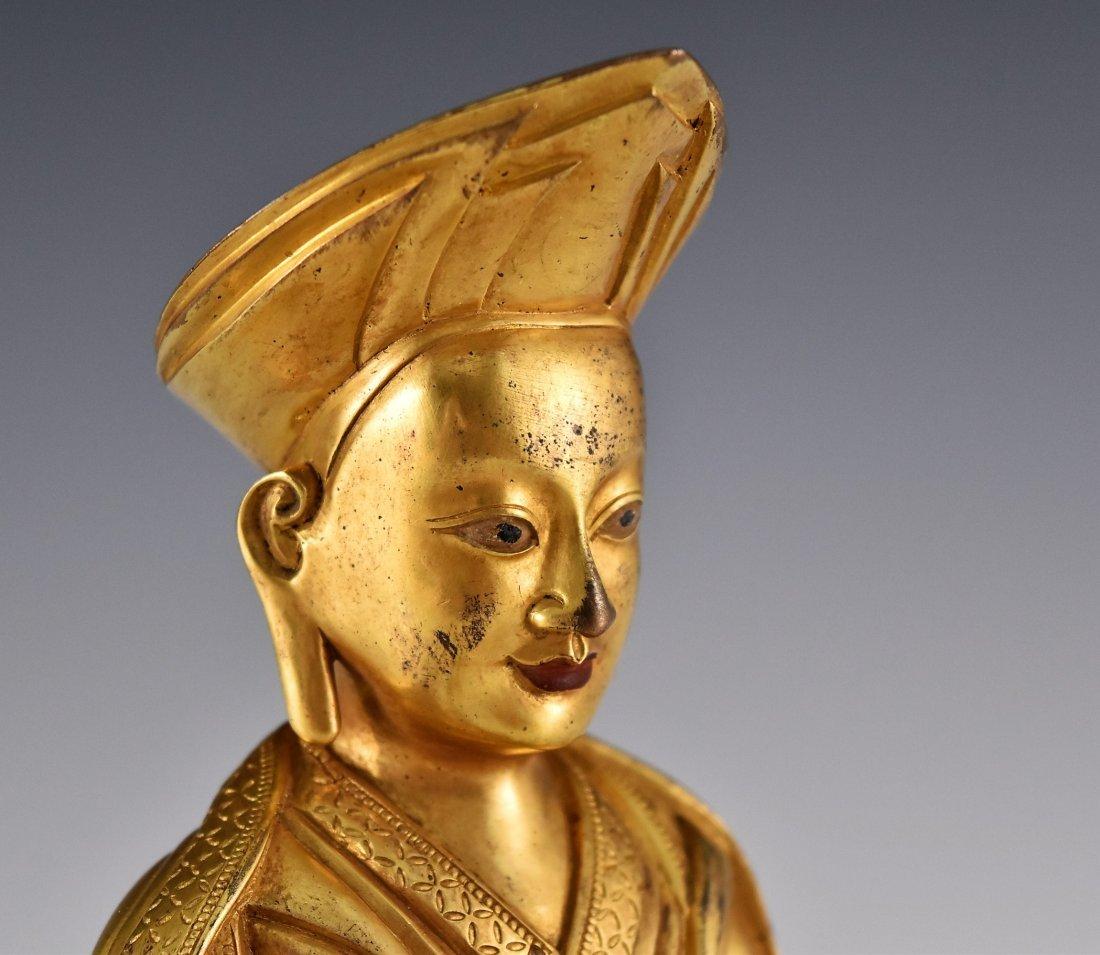 A GILT BRONZE BUDDHA FIGURE OF LAMA TSONDRU TASHI - 6