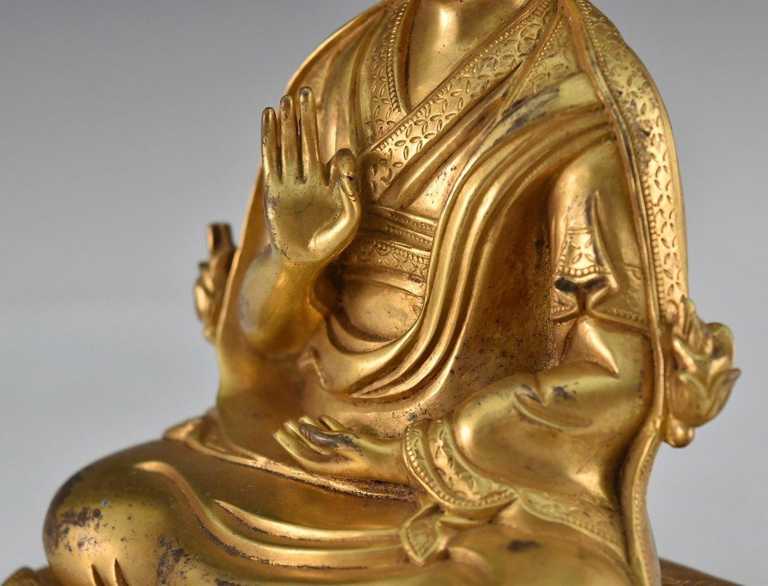 A GILT BRONZE BUDDHA FIGURE OF LAMA TSONDRU TASHI - 7
