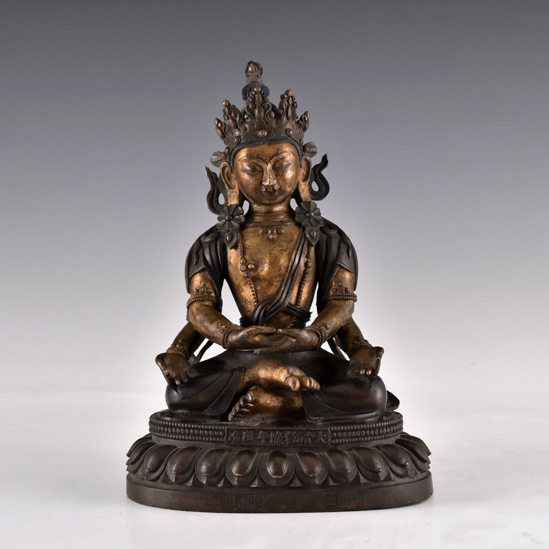 CHINESE BRONZE BUDDHA FIGURE OF FOUR ARMS CUNDI,