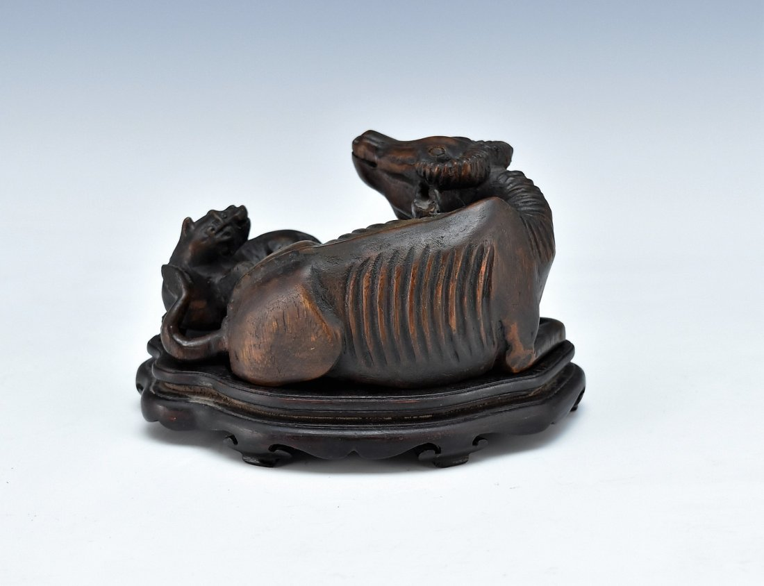 CARVED CHENXIANG WOOD OX AND DOG SCLUPTURE - 3