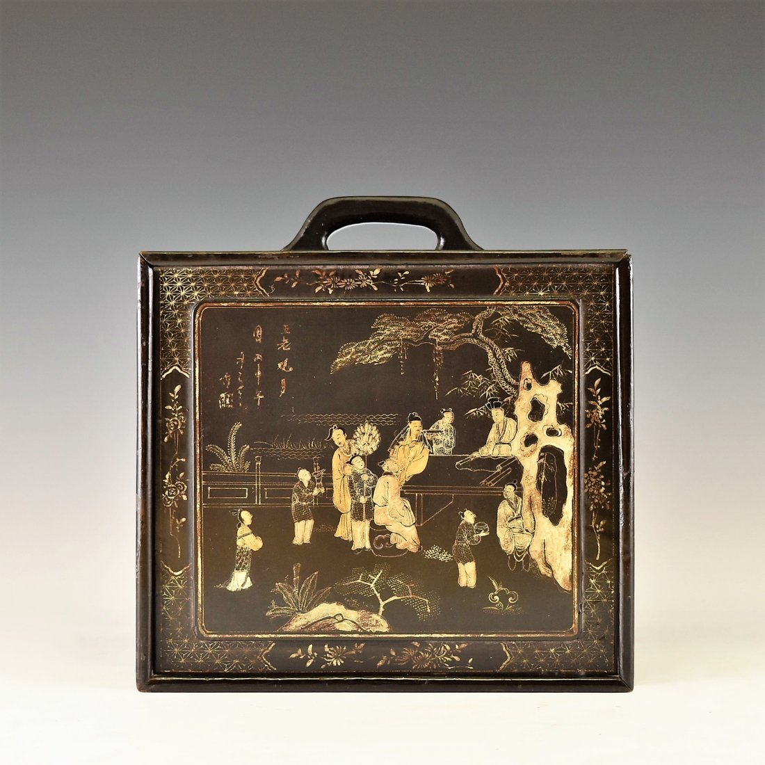 ANTIQUE CHINESE EBONY LACQUER BOX, 19TH C - 2