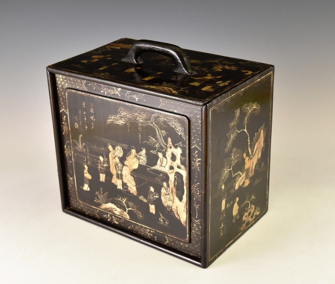ANTIQUE CHINESE EBONY LACQUER BOX, 19TH C - 3