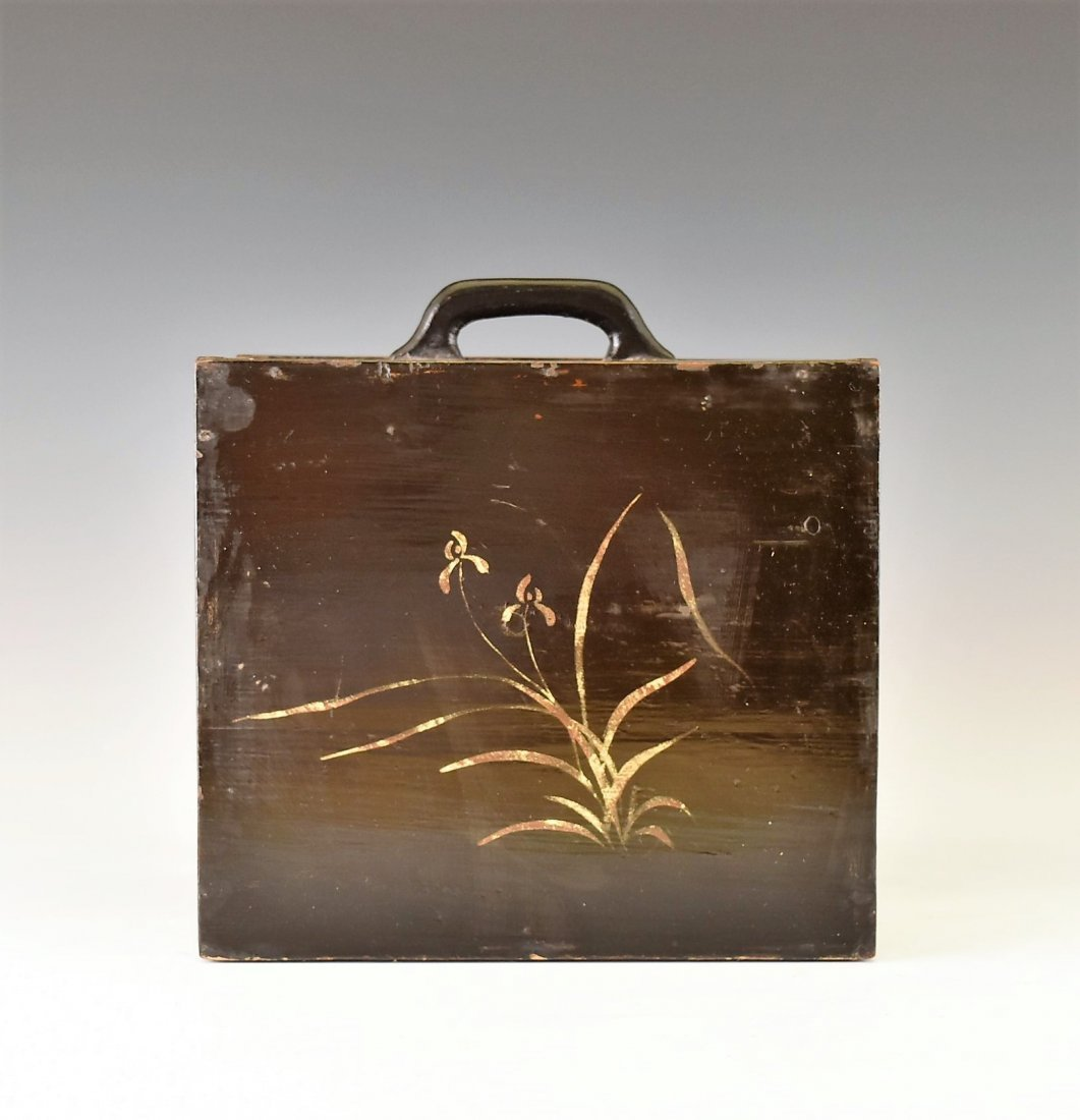 ANTIQUE CHINESE EBONY LACQUER BOX, 19TH C - 4