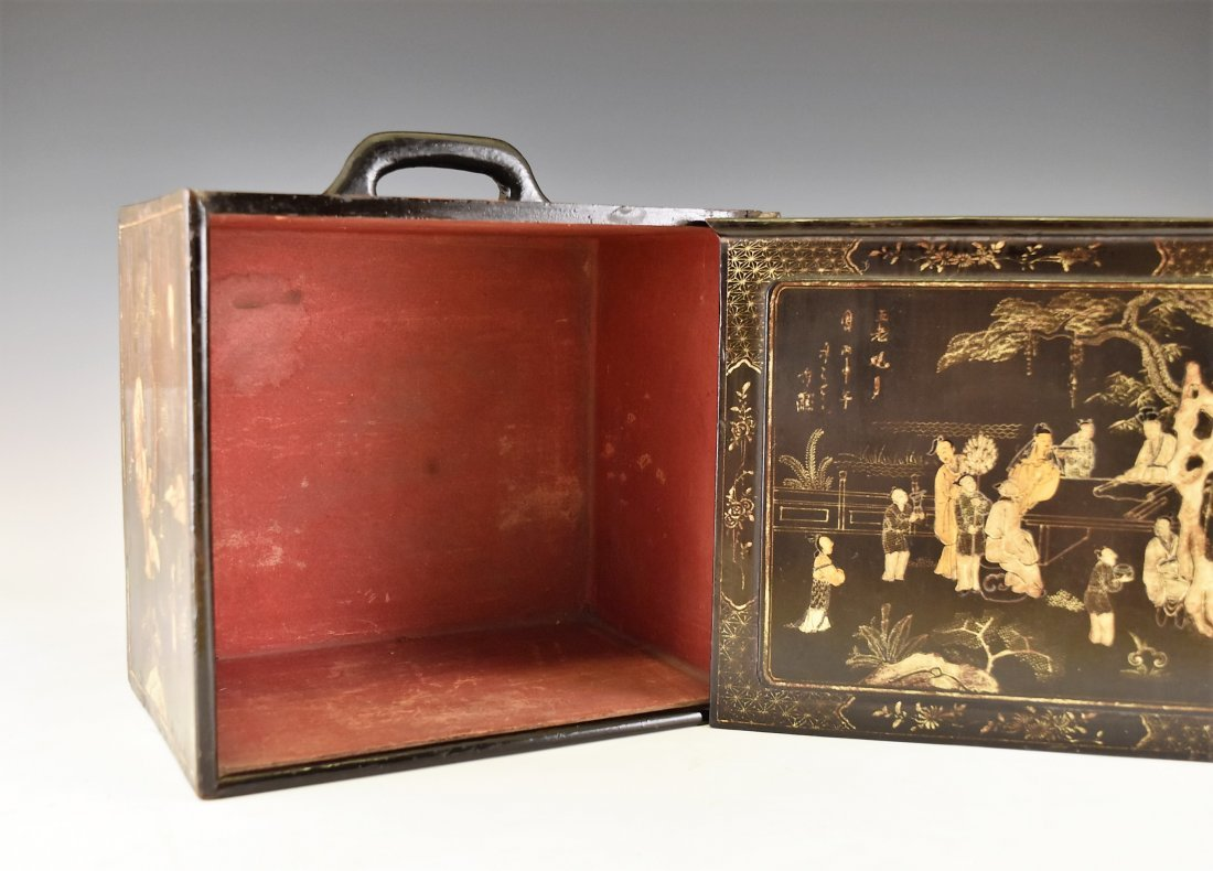 ANTIQUE CHINESE EBONY LACQUER BOX, 19TH C - 6