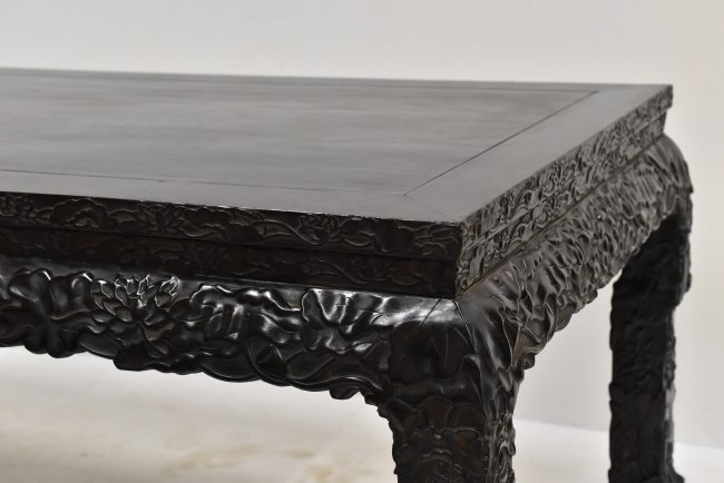 MASSIVE CARVED ZITAN CHINESE PAINTING TABLE - 3