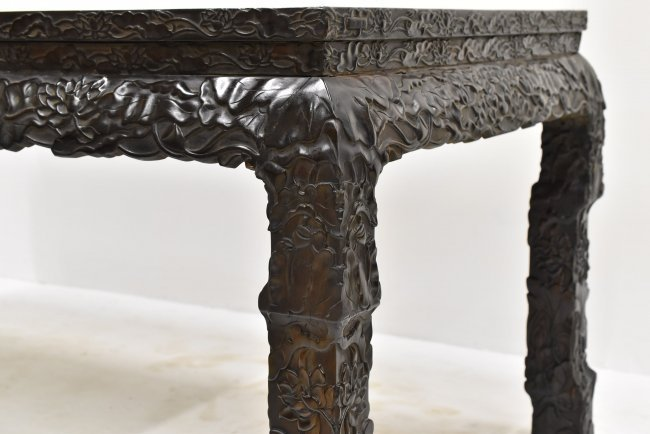 MASSIVE CARVED ZITAN CHINESE PAINTING TABLE - 9