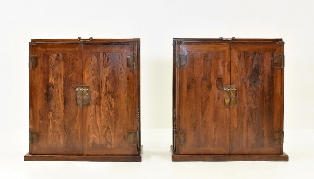 PAIR LARGE CRAFTED HUANGHUALI DOUBLE DOOR DOWRY WEDDING
