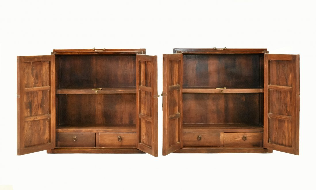 PAIR LARGE CRAFTED HUANGHUALI DOUBLE DOOR DOWRY WEDDING - 4
