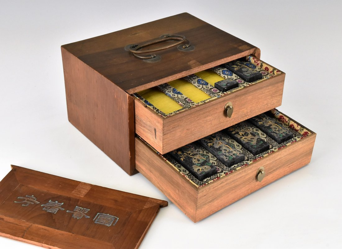 SET OF 5 PCS INK STONES W/ DOUBLE DRAWERS WOODEN BOX - 2