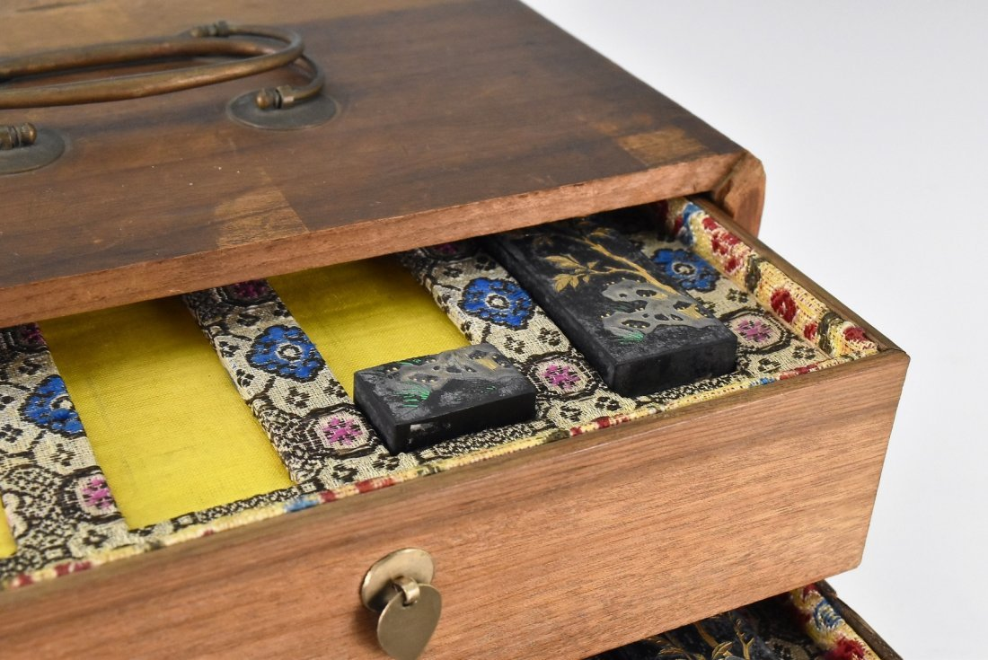 SET OF 5 PCS INK STONES W/ DOUBLE DRAWERS WOODEN BOX - 3