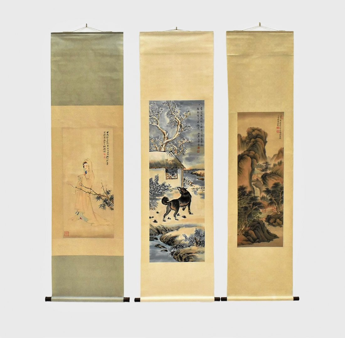 SET OF 3 PCS CHINESE SCROLL PAINTINGS