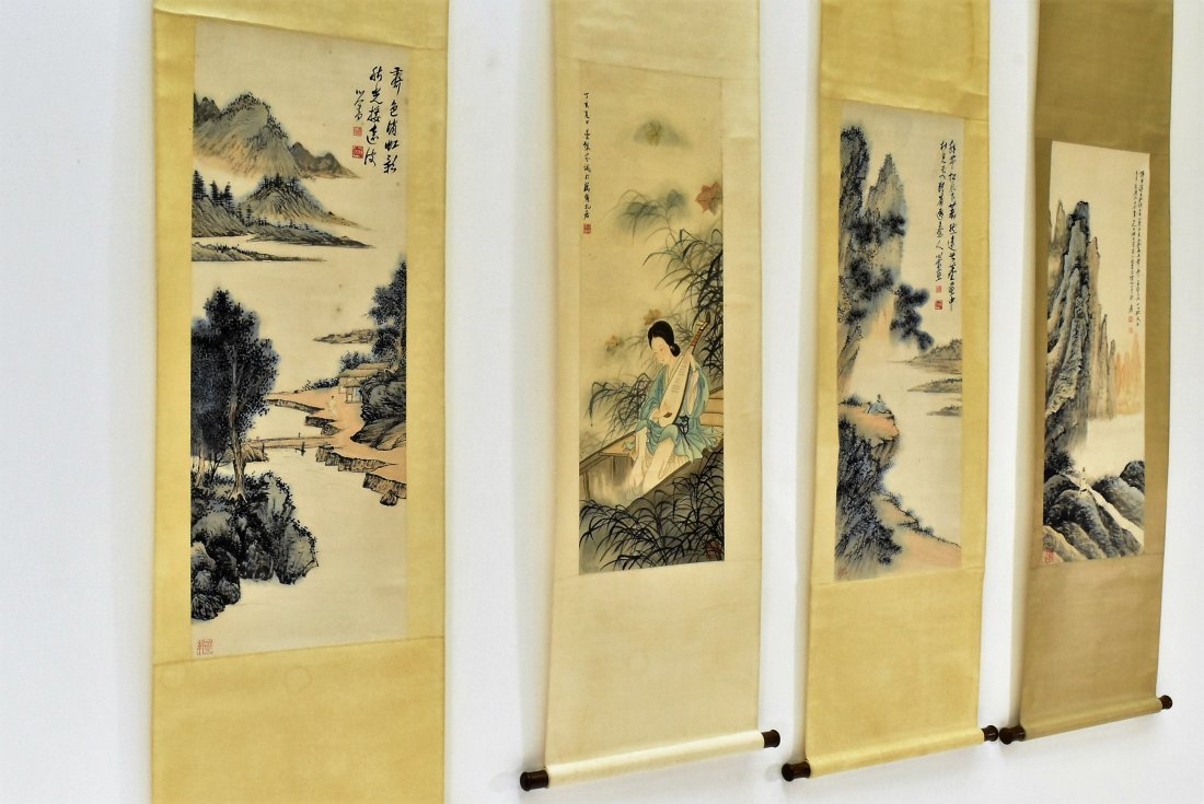 SET OF 4 PCS CHINESE SCROLL PAINTINGS - 9