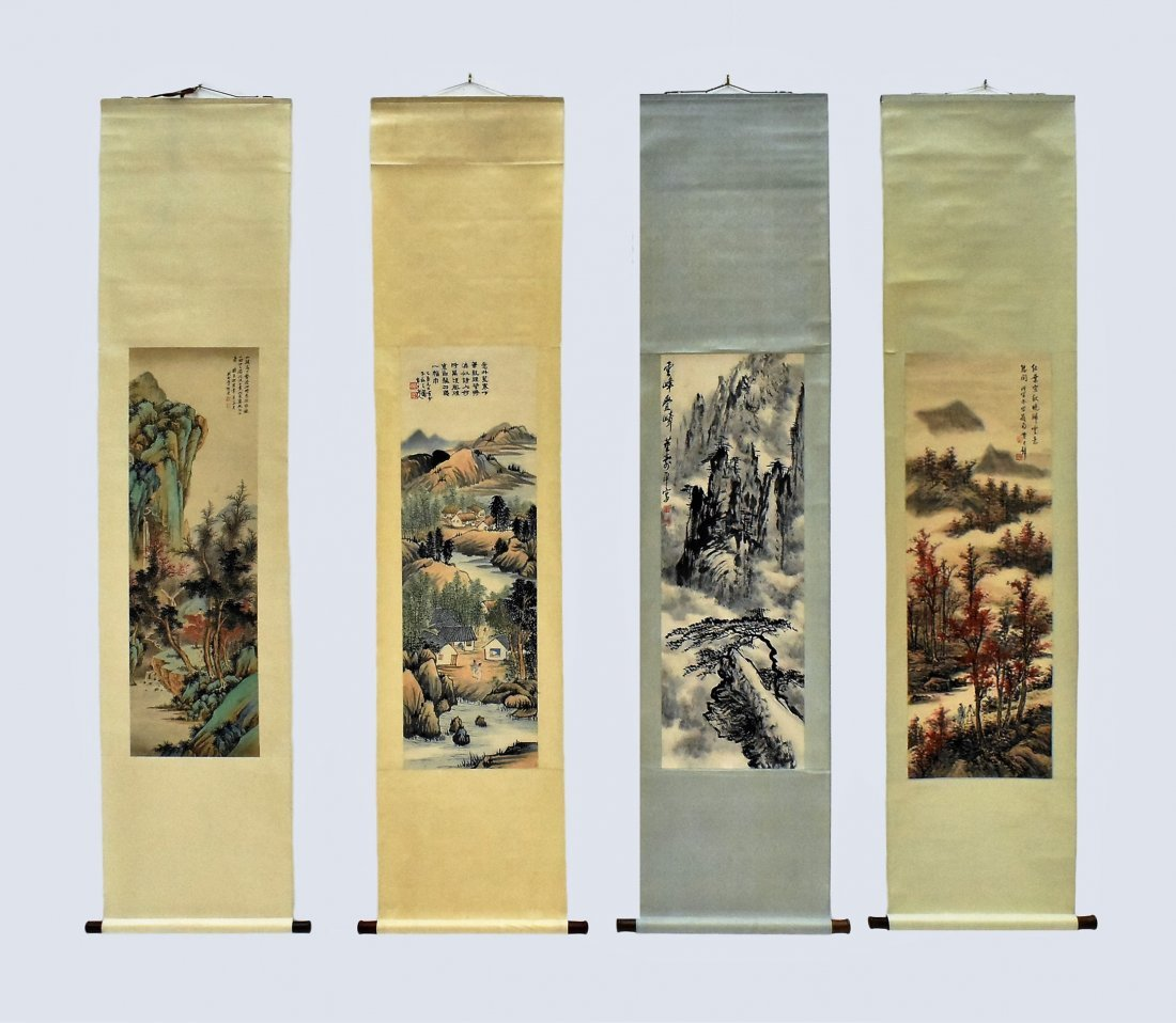 SET OF 4 PCS CHINESE SCROLL PAINTINGS