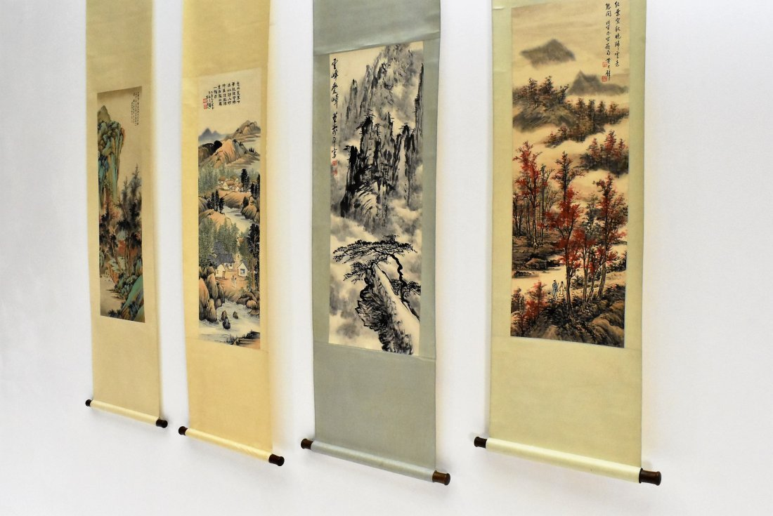 SET OF 4 PCS CHINESE SCROLL PAINTINGS - 5