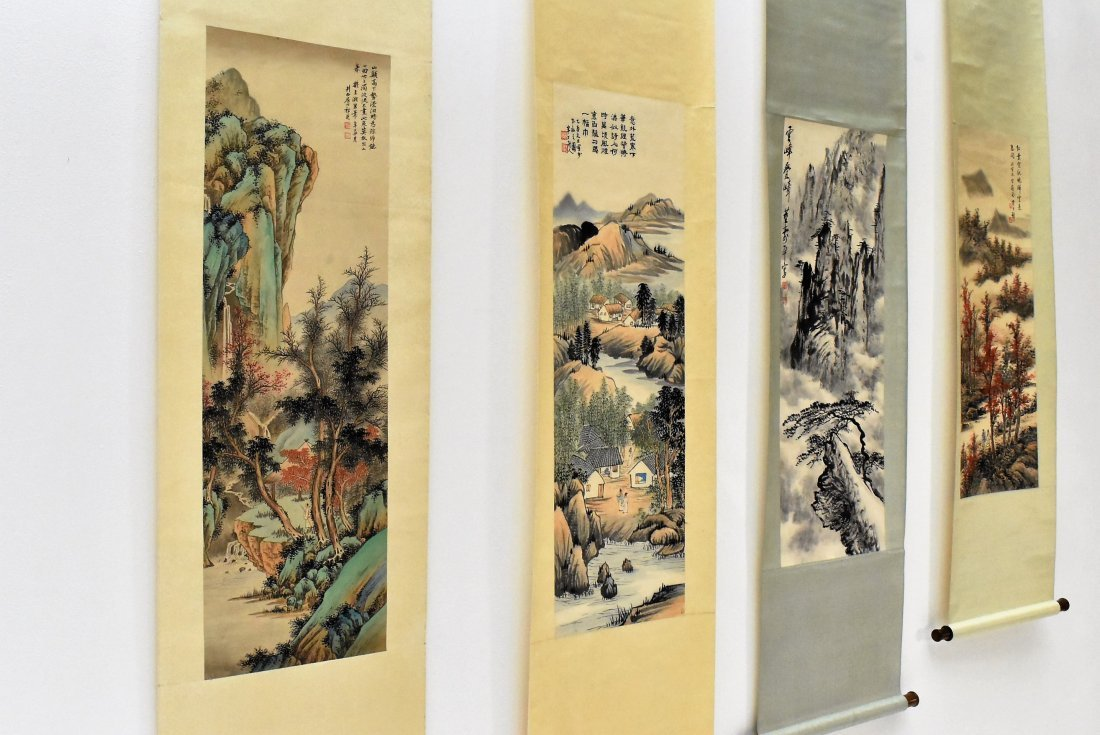 SET OF 4 PCS CHINESE SCROLL PAINTINGS - 6
