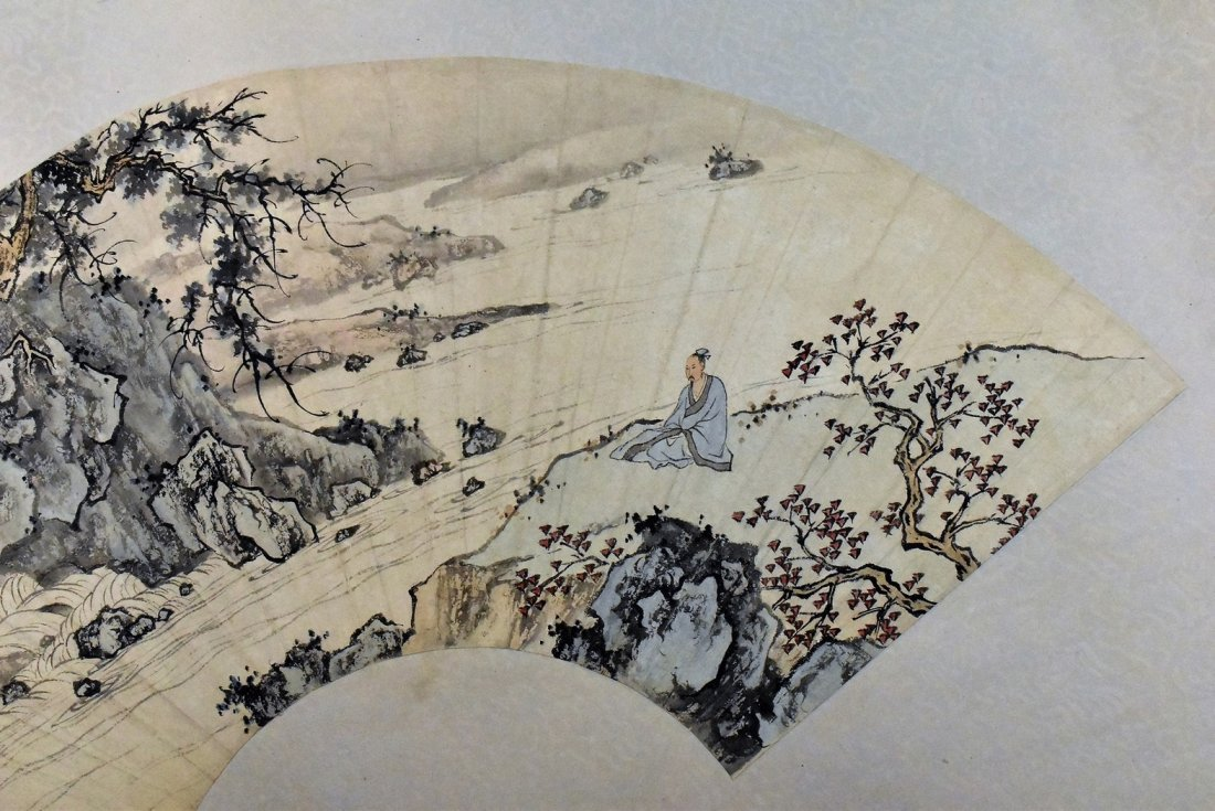 SET OF 4 PCS CHINESE SCROLL AND FAN PAINTING - 10