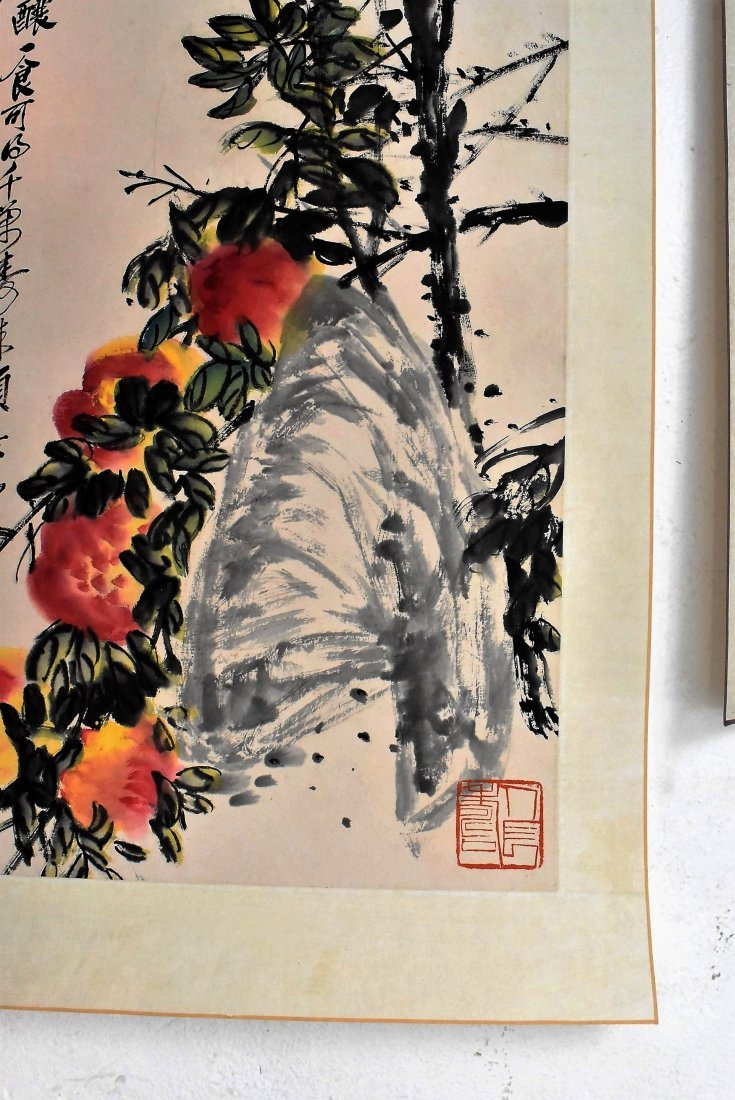 SET OF 4 PCS CHINESE SCROLL AND FAN PAINTING - 7