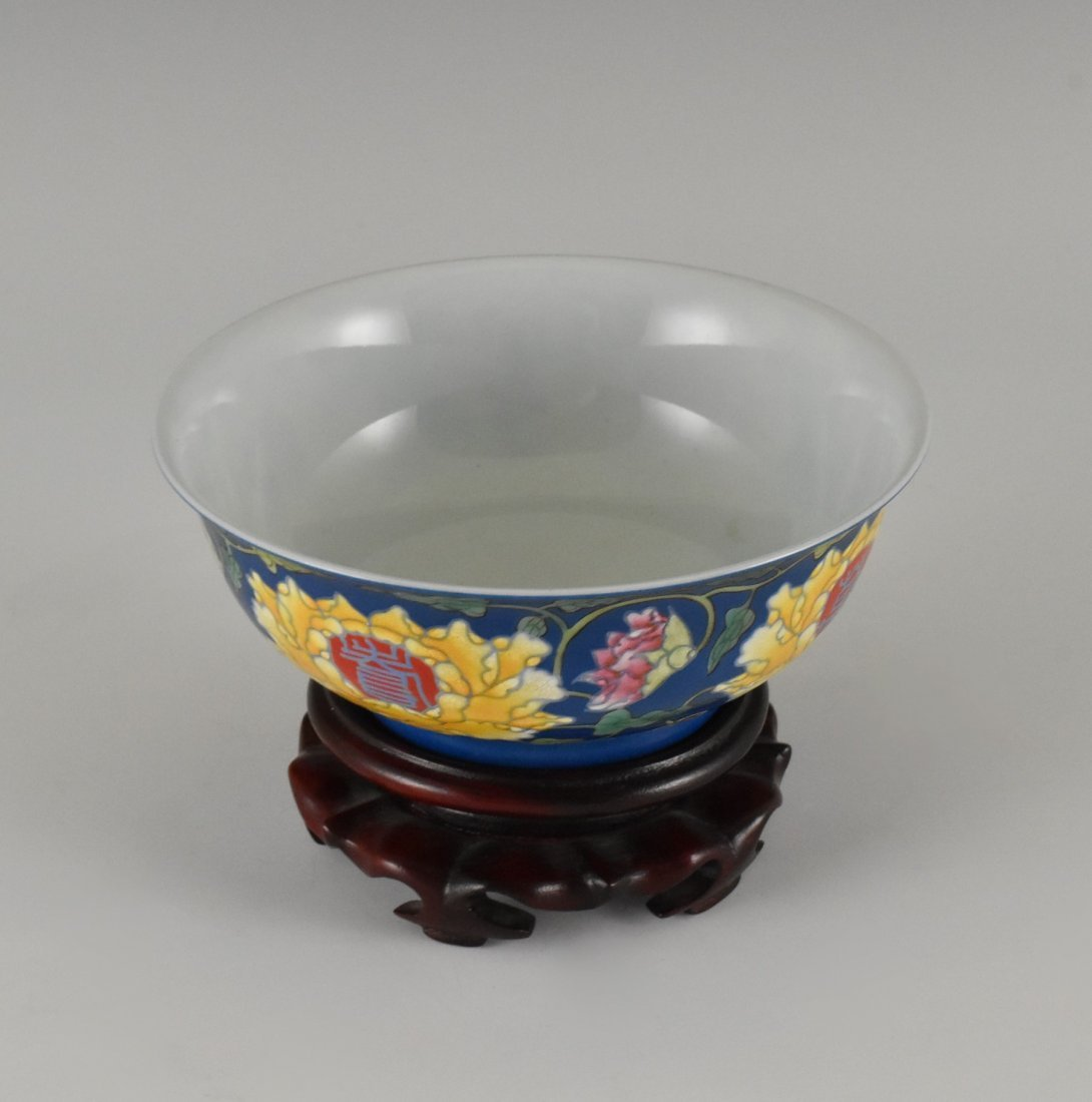 LONGEVITY FLOWER ON BLUE GROUND BOWL ON STAND - 2