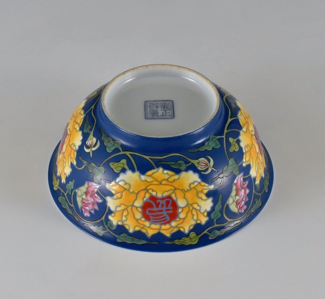 LONGEVITY FLOWER ON BLUE GROUND BOWL ON STAND - 3