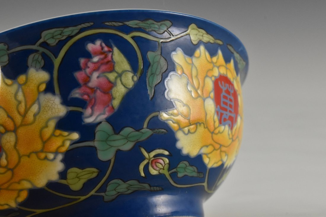 LONGEVITY FLOWER ON BLUE GROUND BOWL ON STAND - 6