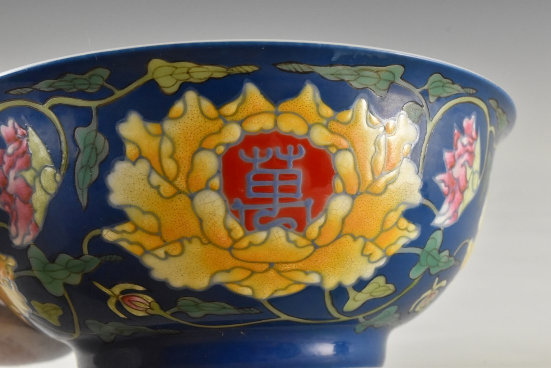 LONGEVITY FLOWER ON BLUE GROUND BOWL ON STAND - 7