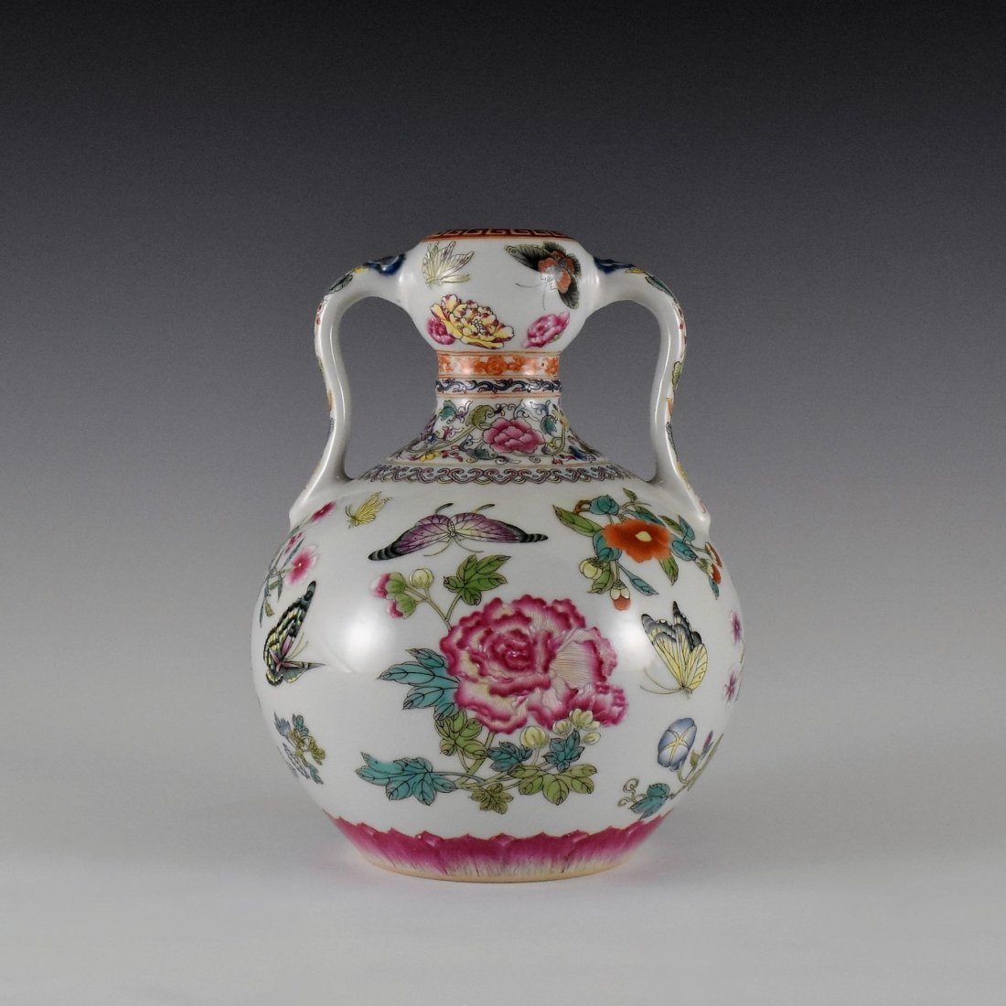BUTTERFLIES AND FLOWERS CHINESE FAMILLE ROSE VASE