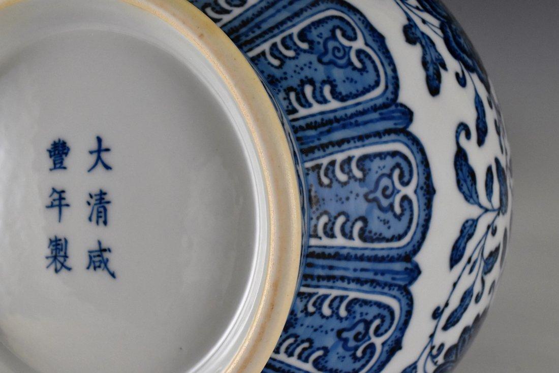 LOTUS BLUE UNDERGLAZED VASE, XIANFENG MARK - 9