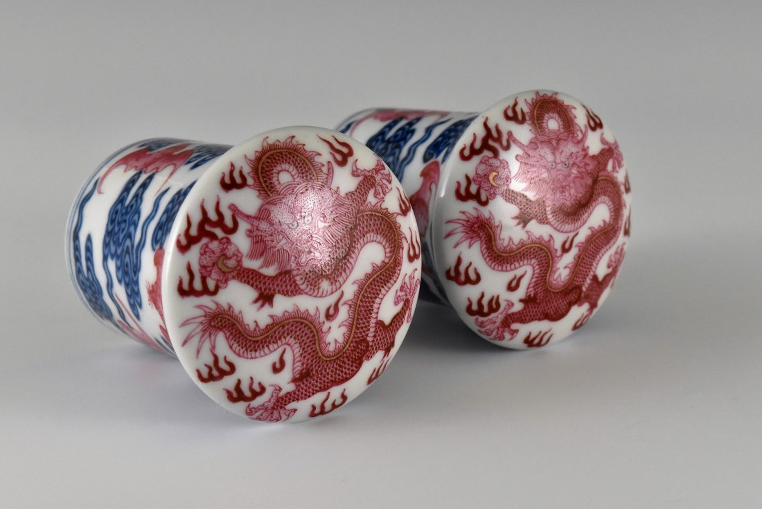PAIR OF PORCELAIN SCROLL KNOBS IN DRAGON AND BATS - 4