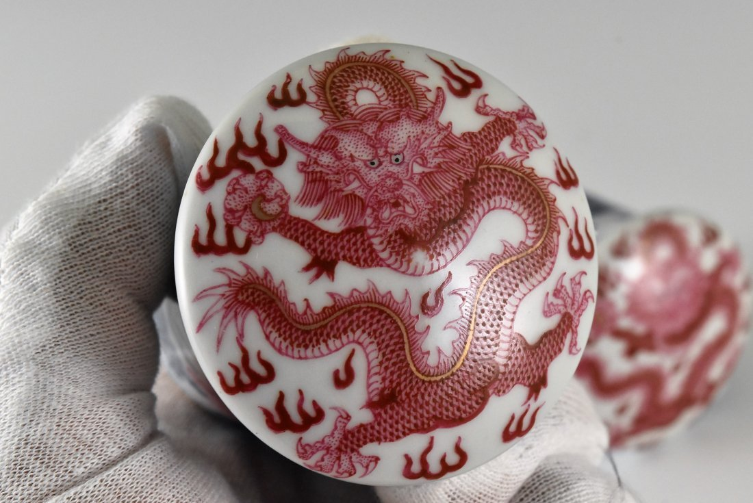 PAIR OF PORCELAIN SCROLL KNOBS IN DRAGON AND BATS - 5