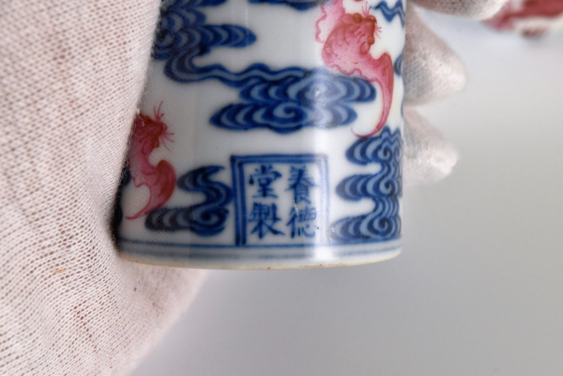 PAIR OF PORCELAIN SCROLL KNOBS IN DRAGON AND BATS - 6