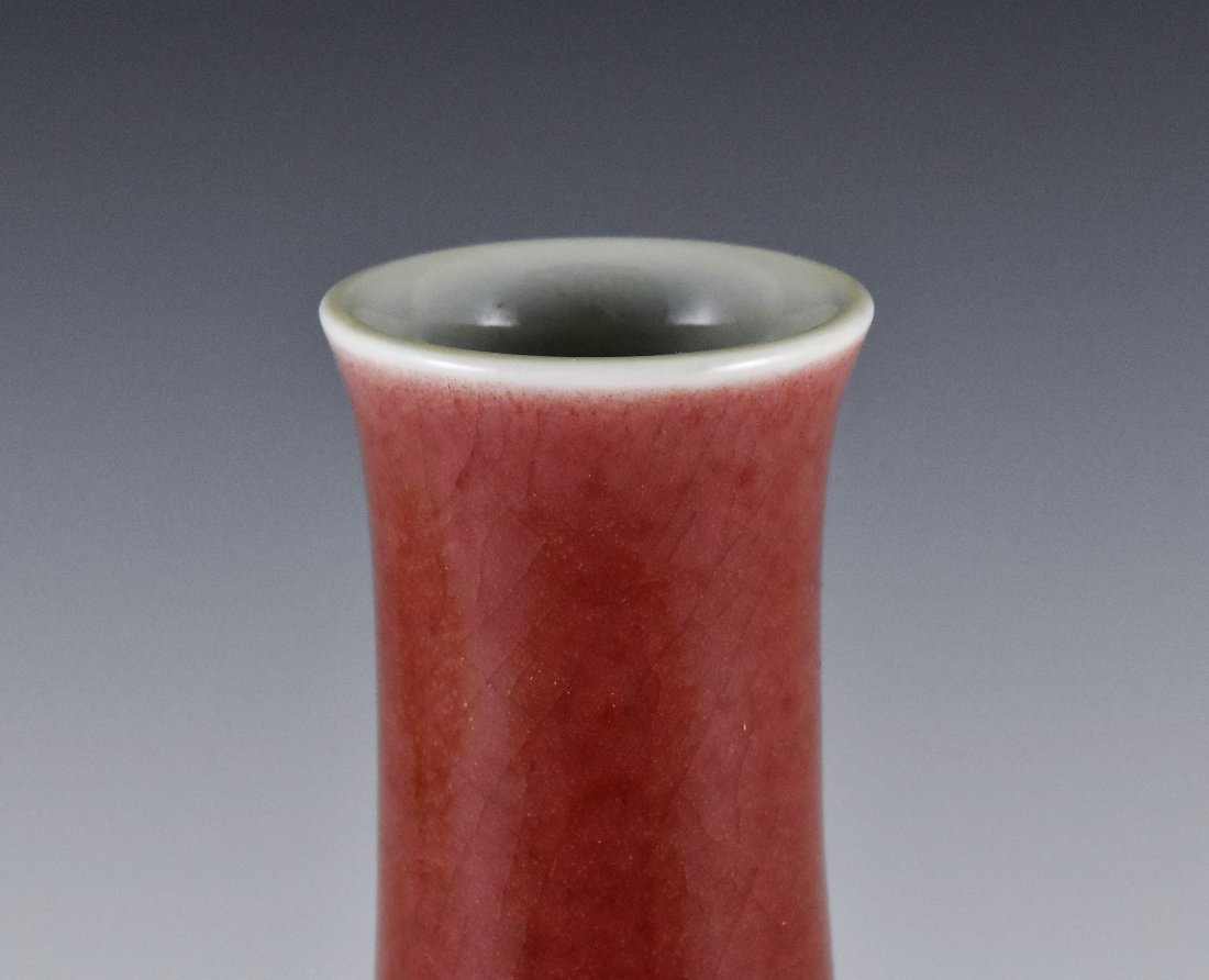 CHINESE RED GLAZED BOTTLE VASE ON STAND - 3
