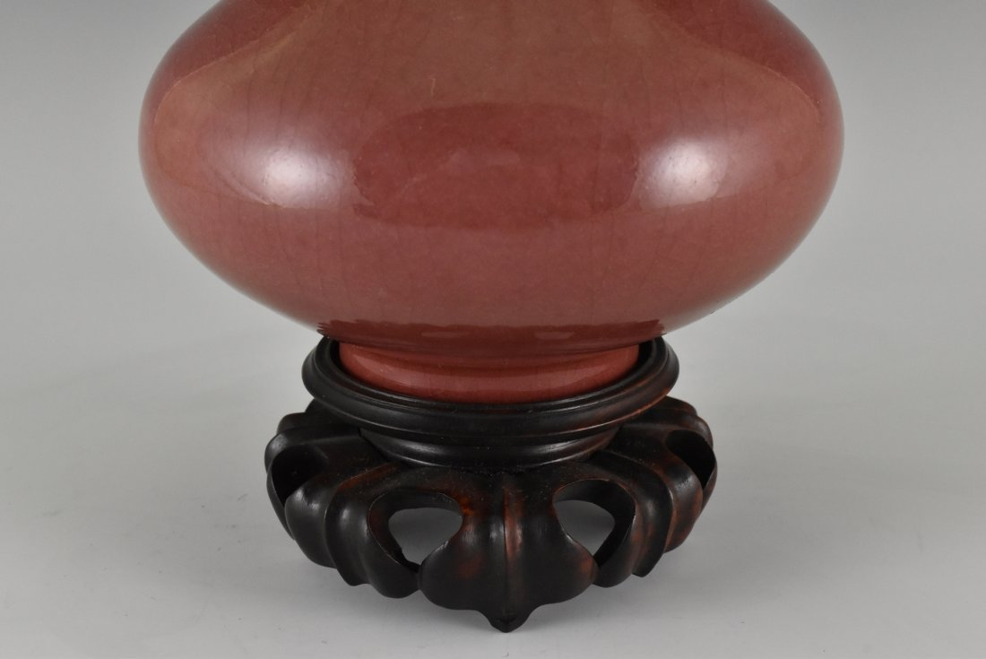 CHINESE RED GLAZED BOTTLE VASE ON STAND - 5