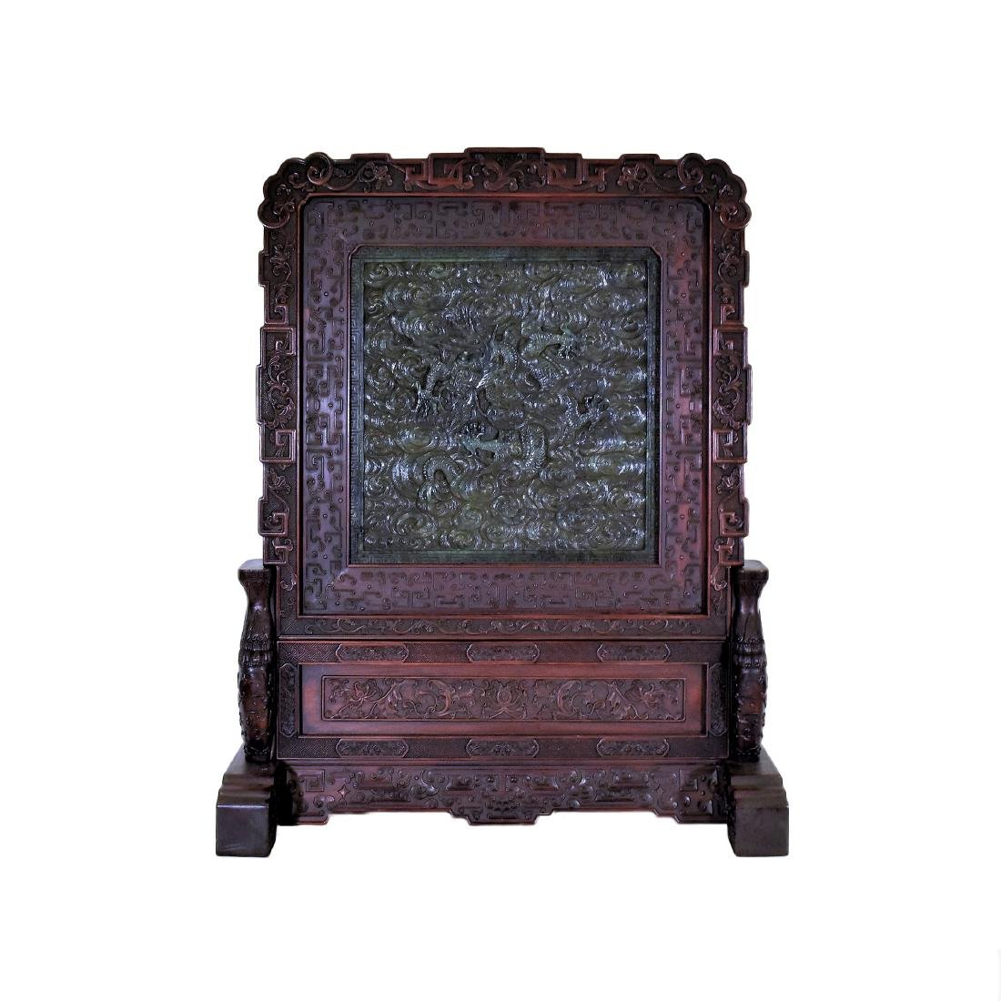 LARGE CHINESE GREEN JADE DRAGON TABLE SCREEN