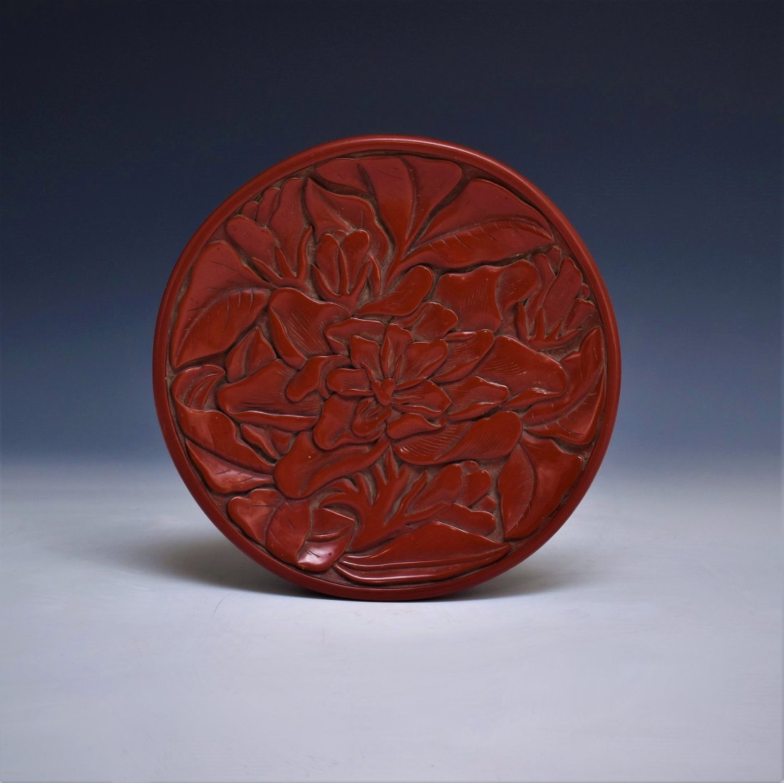 15TH C. MING FLORAL CARVED CINNABAR LAQUER PLATE