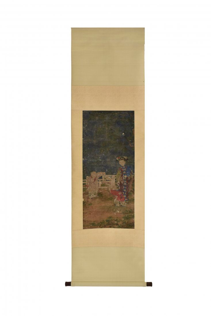 LENG MEI, BOY AND COURT LADY SCROLL PAINTING