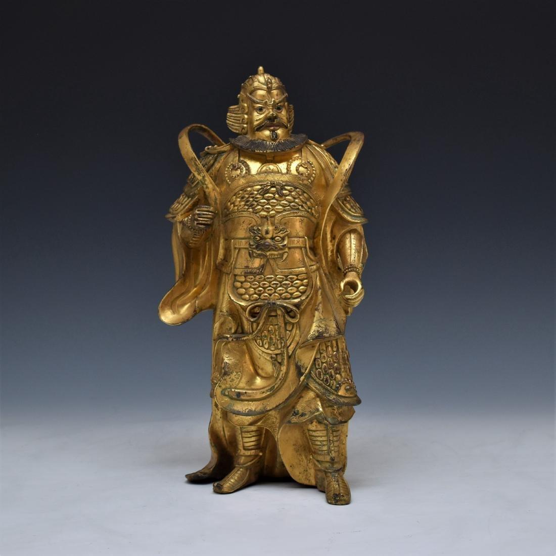 QING GILT BRONZE BHODISATTVA BUDDHA STANDING