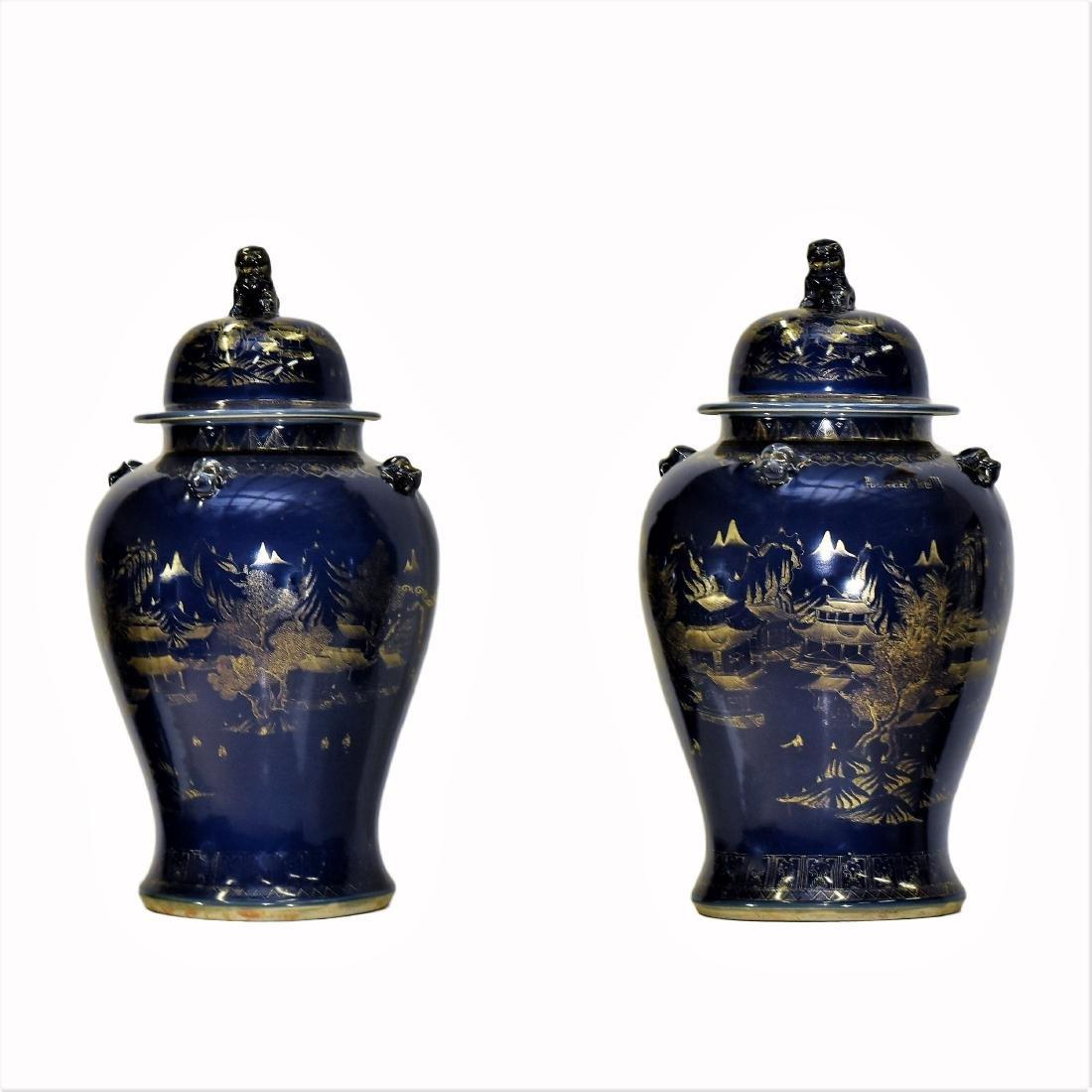 PAIR OF LARGE GILT OVERGLAZED BLUE TEMPLE JARS