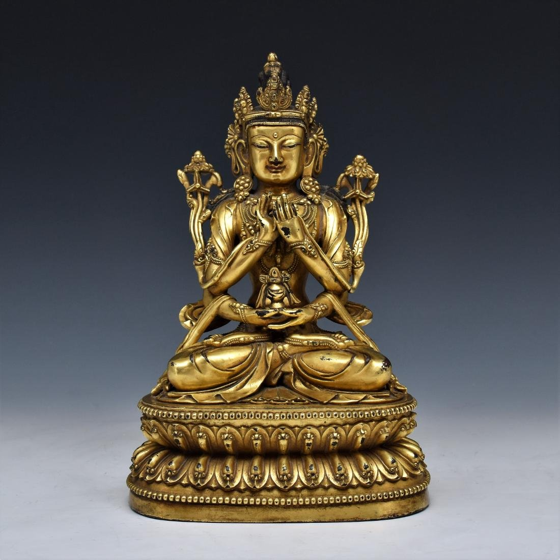 YONGLE GILT BRONZE FOUR ARMS AVALOKITHESVARA BUDDHA