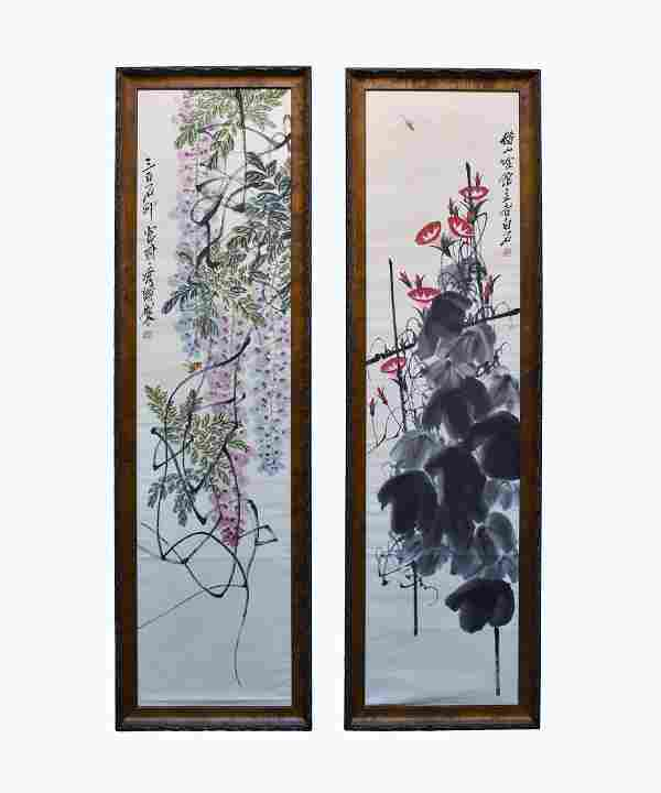 QI BAISHI, SET OF 2 FRAMED FLORAL AND INSECT PAINTING