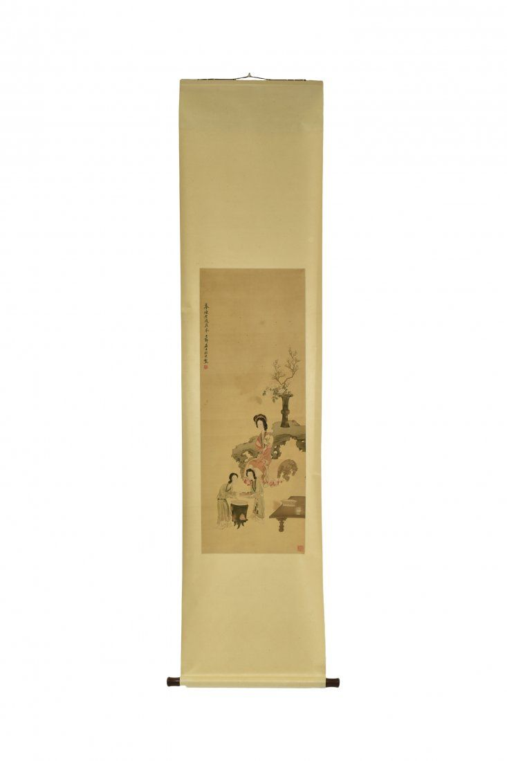 GAI QI, DREAM OF RED CHAMBER PAINTING SCROLL