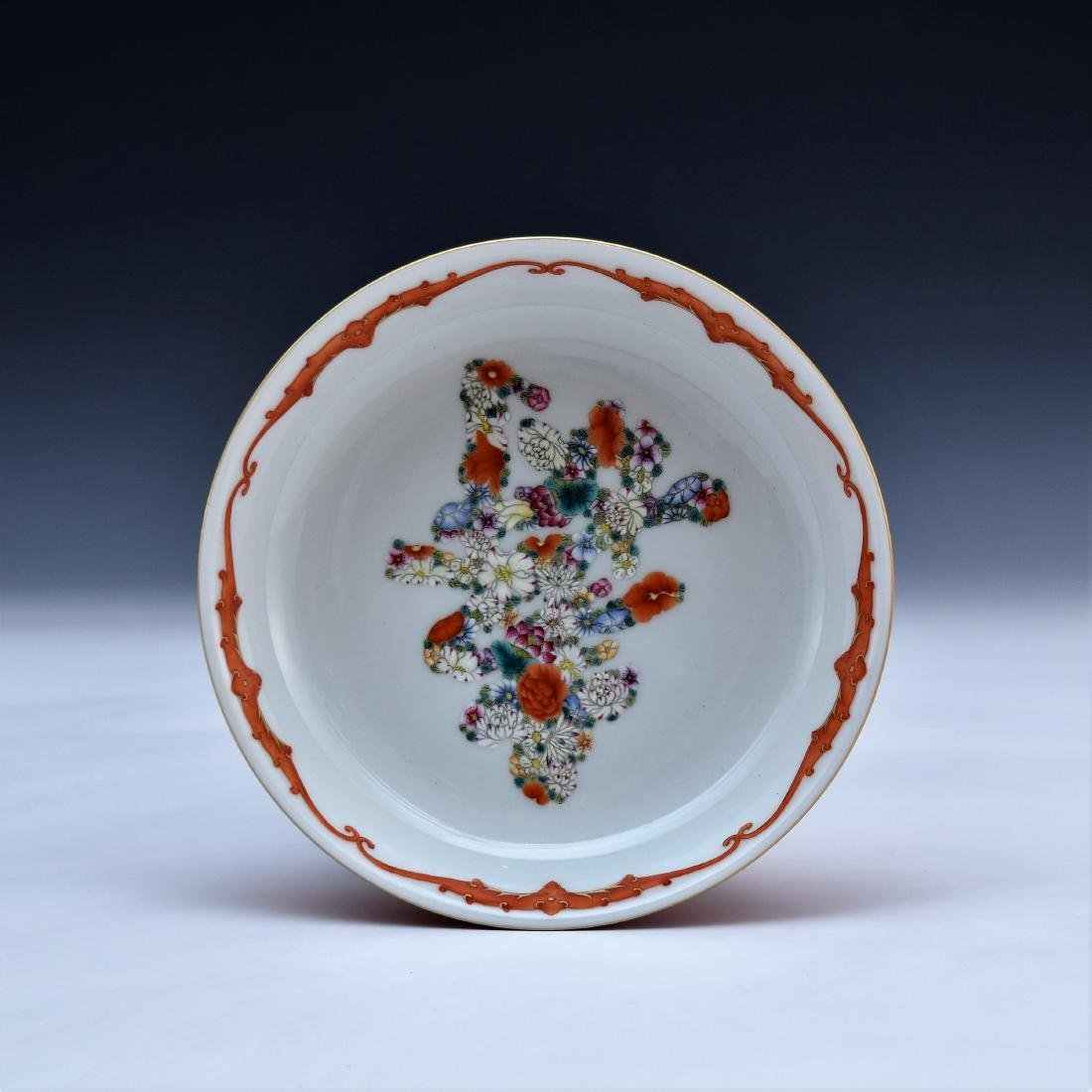 FAMILLE ROSE FLORAL PLATE