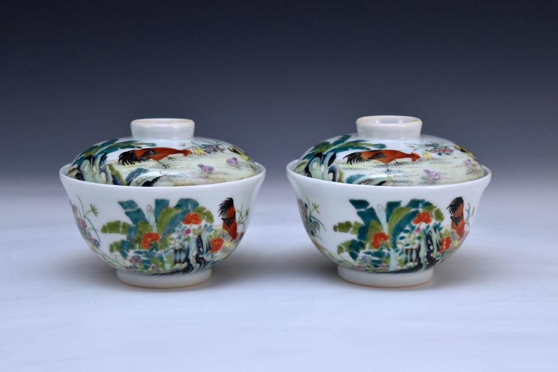 PAIR OF ROOSTER MOTIF TEACUPS & COVERS