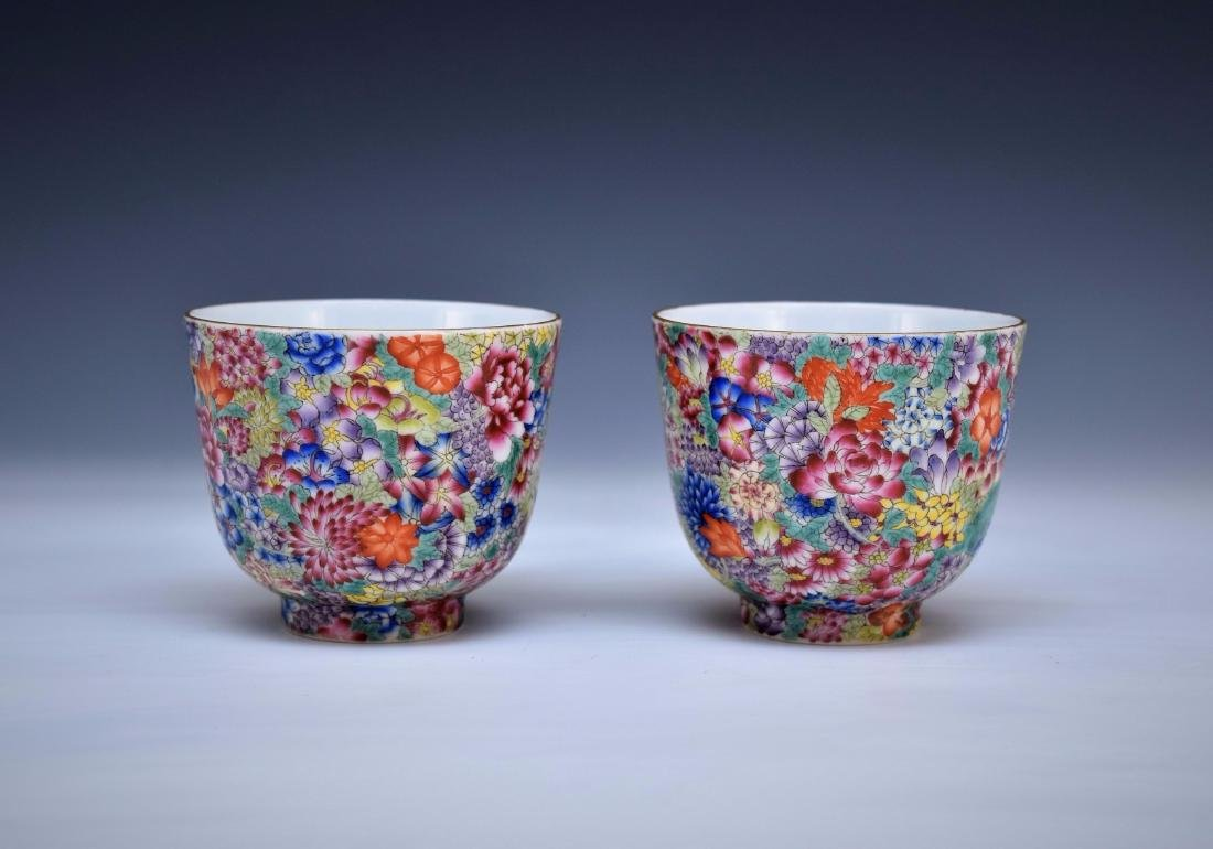PAIR OF FAMILLE ROSE MILLE-FLEUR CUPS