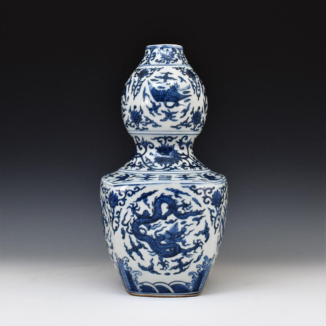 MING BLUE & WHITE DRAGON DOUBLE GOURD VASE