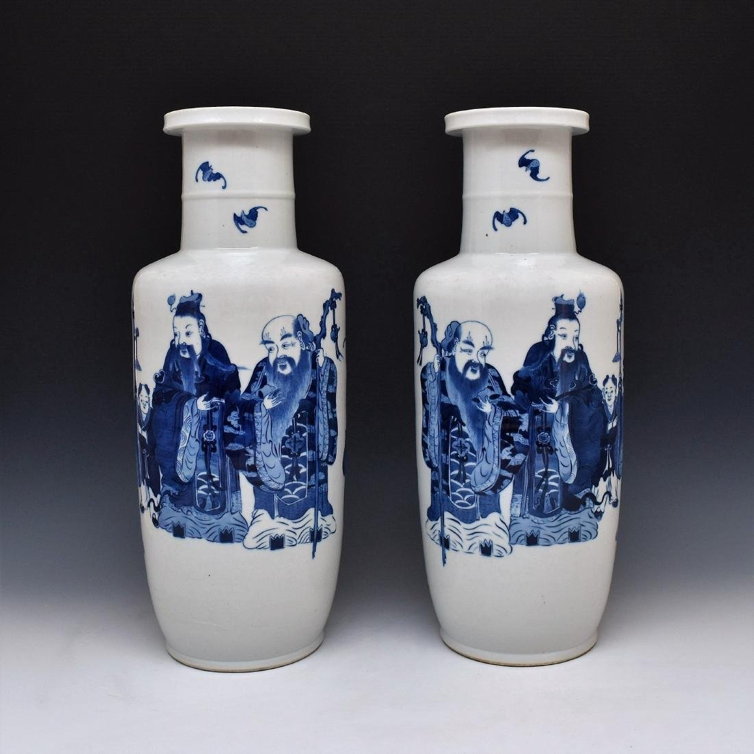 PAIR OF BLUE & WHITE IMMORTALS ROULEAU VASES