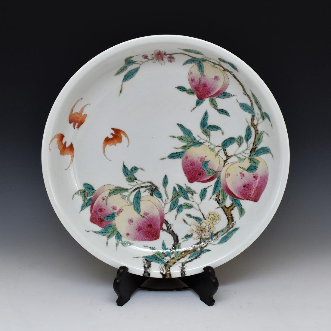FAMILLE ROSE BATS & PEACH PORCELAIN CHARGER
